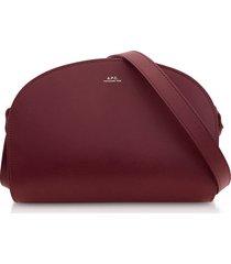 a.p.c. designer handbags, wine half moon smooth leather crossbody bag