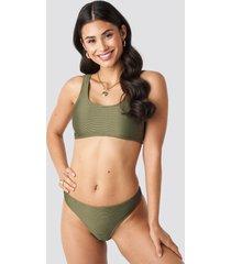 na-kd swimwear ribbed sporty bikini bottom - green