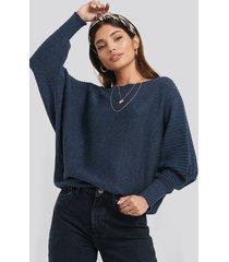 trendyol boat neck sweater - blue