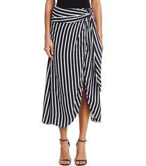 jonathan simkhai women's multimedia stripe wrap skirt - midnight white - size 0