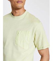 river island mens pastel tech green nylon pocket t-shirt