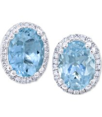 aquamarine (2 ct. t.w.) & diamond (1/8 ct. t.w.) stud earrings in 14k white gold