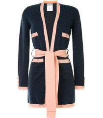 chanel pre-owned frayed tied cardigan - blue