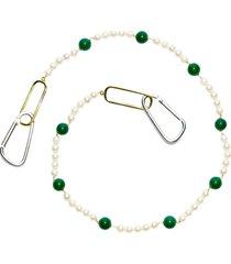 green onyx freshwater pearl key chain