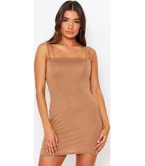 double strap square mini dress, camel