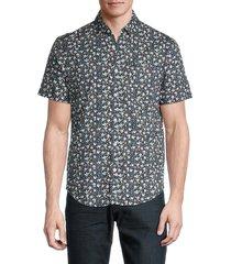 original penguin men's ditsy floral-print shirt - dark sapphire - size xl