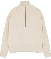 oatmeal half-zip cotton-blend sweatshirt