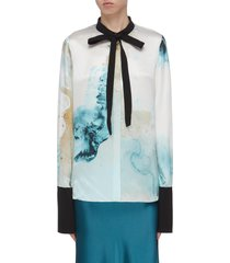 'carone' abstract print contrast ribbon cuff shirt