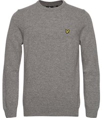 crew neck lambswool blend jumper gebreide trui met ronde kraag grijs lyle & scott