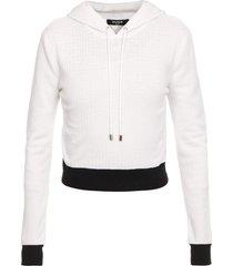 balmain monogram cropped bicolor wool sweatshirt