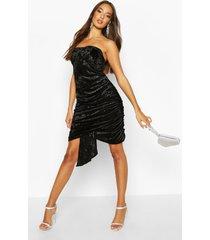 textured velvet bandeau dress, black