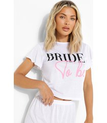 bride to be pyjama set met mouw franjes en shorts, white