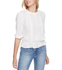 1.state cinched-waist eyelet top