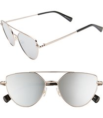 women's rebecca minkoff stevie2 55mm aviator sunglasses - rose gold