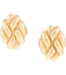 givenchy pre-owned 1980s embossed oval earrings - gold