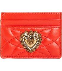 women's dolce & gabbana devotion matelasse leather card case - orange