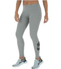 calça legging nike sportswear legasee low - feminina - cinza escuro/preto