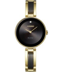citizen eco-drive women's axiom diamond-accent two-tone stainless steel bangle bracelet watch 28mm