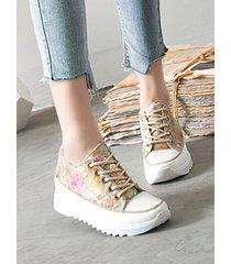 zapatillas de lona con plataforma floral y lentejuelas