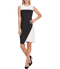 colorblock asymmetrical scuba sheath dress