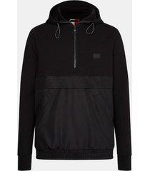 tommy hilfiger men's mixed media popover hoodie jet black - m