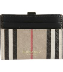 burberry sage icon stripe e-canvas card holder