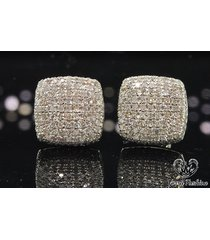 1.40 ct diamond 10k white gold plated micro pave men's & women's stud earrings