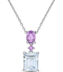 "aquamarine (3 ct. t.w.) & amethyst (3/4 ct. t.w.) 18"" pendant necklace in sterling silver"