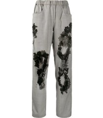 almaz plaid trousers with lace details - black