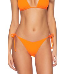 women's becca fine line side tie bikini bottoms, size large - orange
