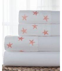 coastal 4-pc. embroidered full sheet set bedding