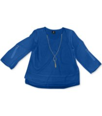 jm collection rolled-tab-sleeve necklace top, created for macy's