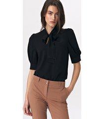 elegancka bluzka z wiązaniem b107 - czarny