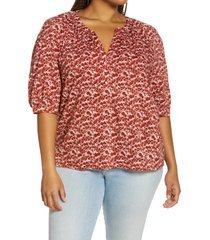 treasure & bond split neck top, size 1x in ivory- rust falling leaves at nordstrom