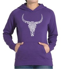 la pop art women's word art hooded sweatshirt -texas skull