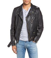 men's schott nyc hand vintaged cowhide leather motorcycle jacket, size medium - black