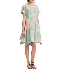 printed crewneck fit-&-flare dress