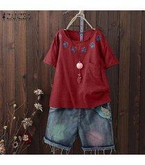 zanzea las mujeres de manga corta de verano tops cuello redondo bordado blusa plus -rojo