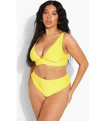 plus gerecycled bikini broekje met hoge taille, yellow