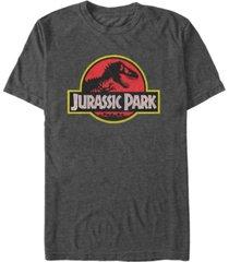 jurassic park men's classic distressed logo short sleeve t-shirt