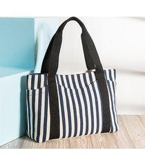 borsa a tracolla di grande capacità di acquisto della borsa a strisce casuale della tela durevole per le donne