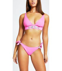 river island womens pink jewelled tie side bikini bottoms