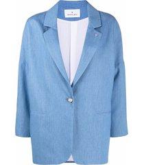 manuel ritz single-breasted drop-shoulder blazer - blue