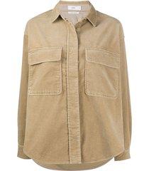 closed corduroy long-sleeved shirt - neutrals