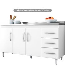 balcão gabinete de pia 150cm 3 portas 3 gavetas isabel branco - ajl móveis