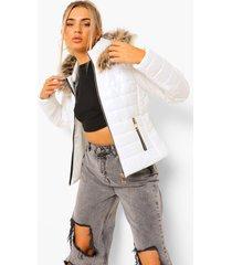 glanzende getailleerde gewatteerde jas met faux fur zoom, white