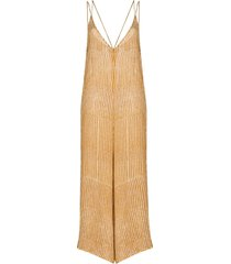 cloe cassandro stripe print silk jumpsuit - yellow