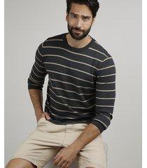suéter masculino em tricô listrado gola careca cinza mescla escuro