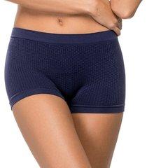 calcinha boxer zee rucci jacquard sem costura azul - tricae