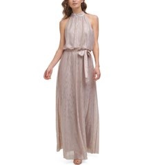 jessica howard metallic blouson belted halter gown